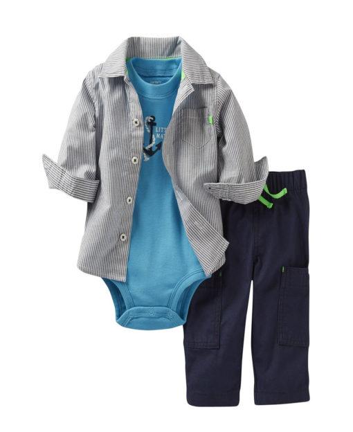 "Carter's 3-pc ""LITTLE MATE"" Bodysuit, Button-Down Shirt, & Pants"
