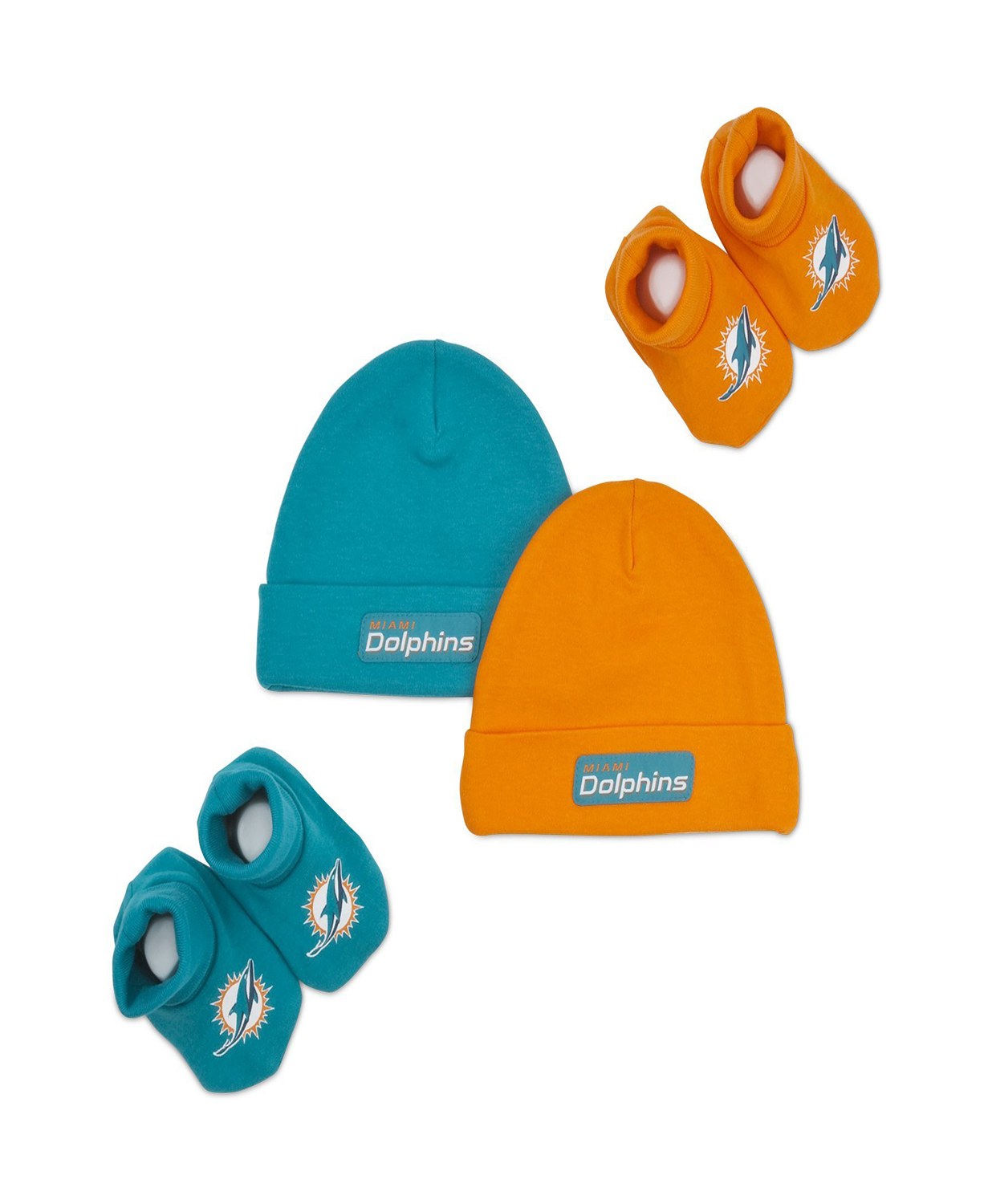 292f316b7 Miami Dolphins Boys 2 Cap and 2 shoes Accessory Set 0-6 Months