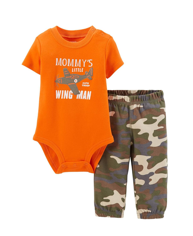 a9c64bc12bb6 Carter s Baby Boy Bodysuit   Sweat Pants Mummys Wing Little Man Set ...