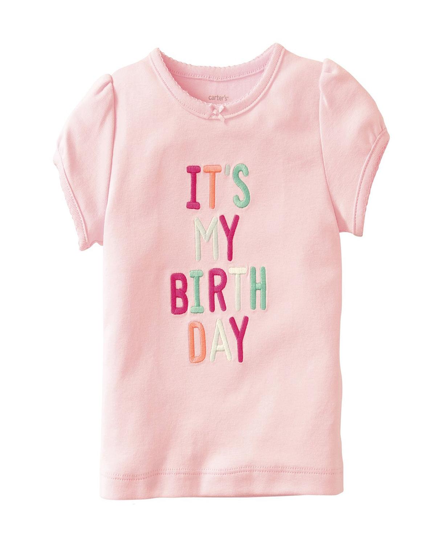 Cute Pink Carters Baby Girls Birthday Tee Girl Shirt
