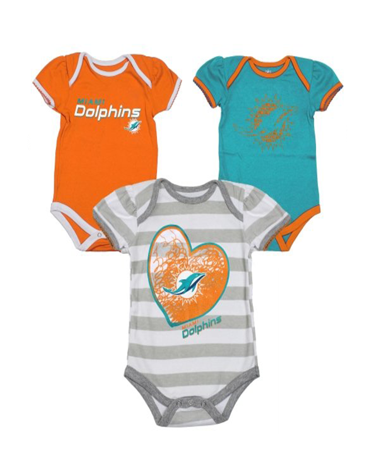 NFL Baby Dolphins 3 Pcs Bodysuit Set  Miami Dolphins Baby Clothes  - Baby  Clothes 570859fee