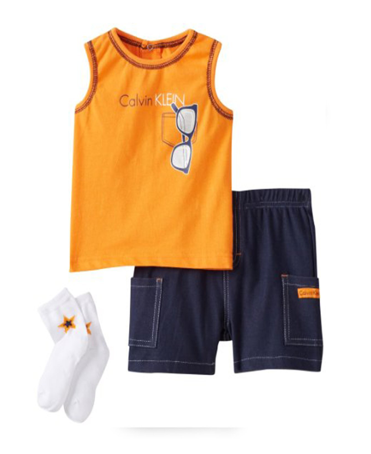 Calvin Klein Baby Boy 3 Piece Set With Shorts Tank Top And
