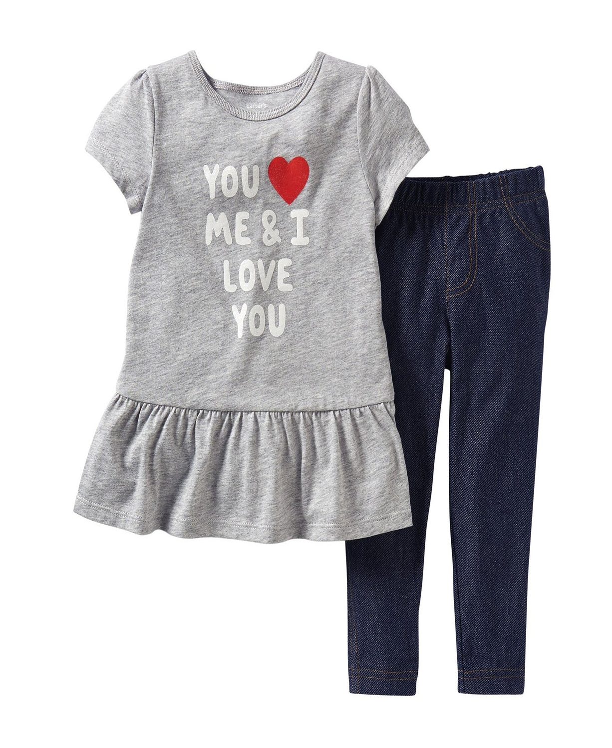 8bbf40852 Stylish Carter's Baby Girls' 2 Piece Denim Pants Set Cute Baby Outfit