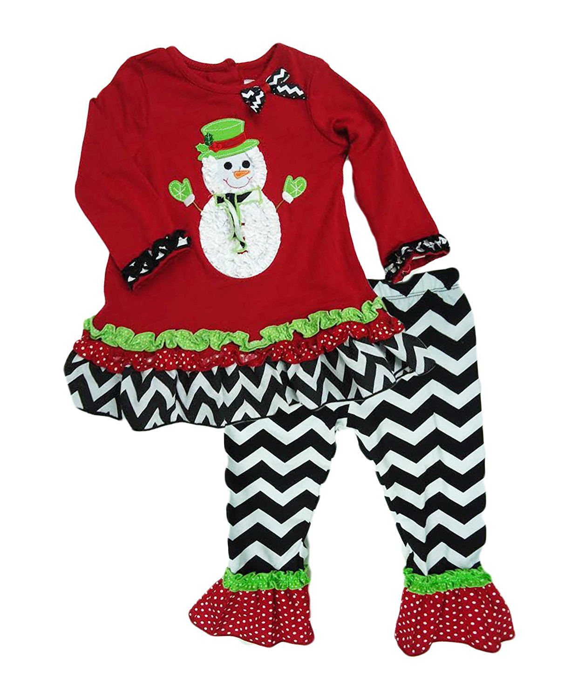 8453051bab5ae Rare Editions Girls 2p Snowman Outfit Set Chevron Pants (24 Months ...